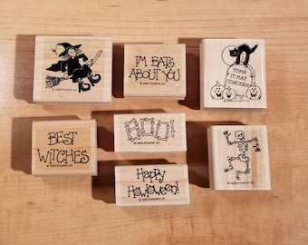Stampin' Up Retired Set - 1999 Bats About You - Rubber Stamp Set of 7 - RS-045