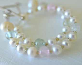 Aquamarine And White Pearl Bracelet Plus Size Bracelet Handmade in Maine Very Long Bracelet