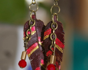 Red and Gold Leather Feather Earrings