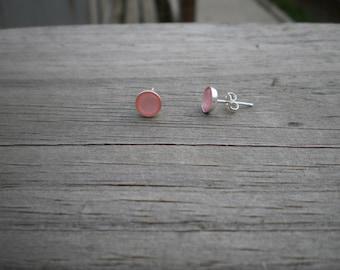 Pink Mother of Pearl Stud Earrings 6mm