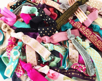 BULK HAIR TIES | Assorted Elastic Hair Ties, Wholesale Elastic Hair Ties, Print Solid Color + Sparkle Hair Tie Assortment, Party Favor Mix