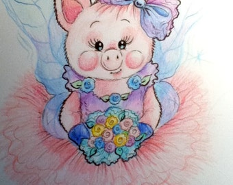 Piglet Ballerina Nursery Art Print for Kids Believe in Yourself 8.5 x 11