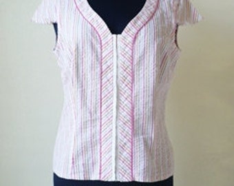 Laura Ashley Blouse / Stripped White Pink blouse / Secretary blouse /  Button up Office Shirt / Stripped blouse / size small