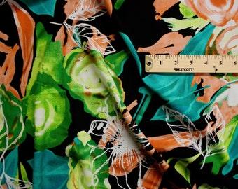 "Tropical Floral Print Rayon Fabric 58"" Wide Per Yard"
