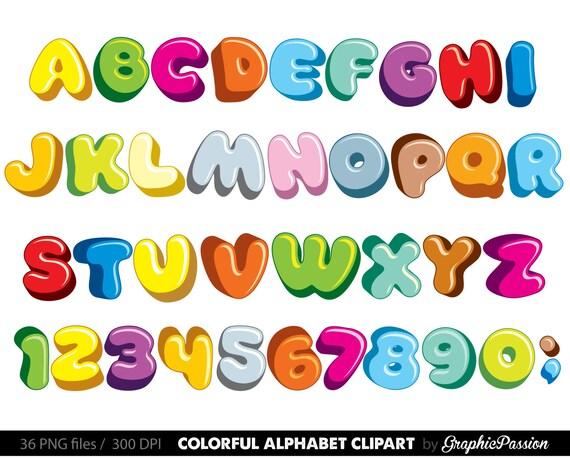 fluffy alphabet clipart color alphabet digital alphabet letters rh etsystudio com clip art alphabet letters christmas alphabet letters clipart