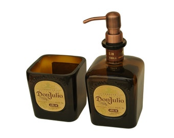 Don Julio Dish Soap Dispenser & Toothbrush Holder / Soap Pump / Amber Glass Soap Dispensers / Bathroom Kitchen Hand Soap / Dish Soap /