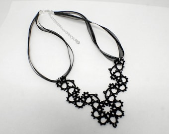 Black Bead Necklace, Black Lace Necklace, Black Necklace, Lace Jewelry, Black Jewelry, Gift For Her, Elegant Necklace, Tatted Lace Jewelry