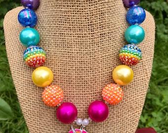 Unicorn Chunky Necklace, Rainbow Unicorn Necklace, Rainbow Chunky Necklace
