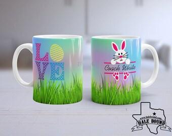 Custom with Name EASTER LOVE BUNNY 15 oz Coffee Mug. Perfect Easter Gift!