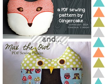 Fox and Owl PDF Sewing Pattern Philomena Fox and MAx the Owl