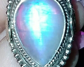 Moonstone Ring 925 sterling silver size 7.5