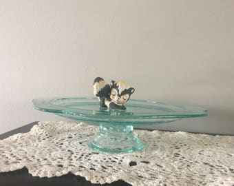 Indiana Glass Cake Plate, Madrid Teal, Federal Glass, Turquoise Glass Cake Plate, Cake Plate, Depression Glass, Turquoise Glass