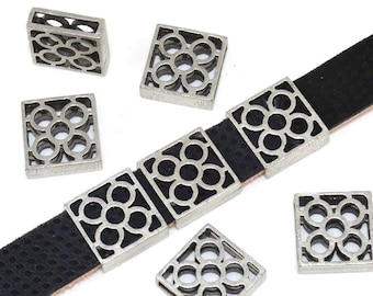 Pearl silver-plated Zamak - lace, flower - for 12.7 mm flat leather - PPMCP1216AG998 - the way