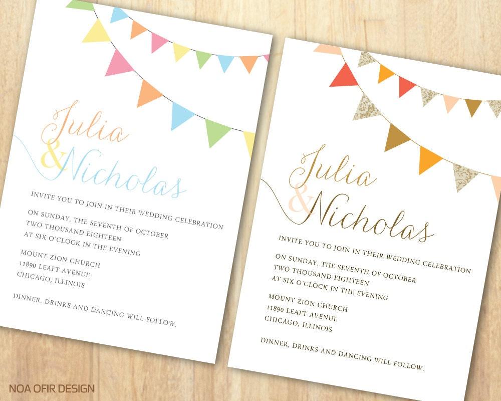 Rustic Wedding Invitation Rustic Invitation Flag Wedding
