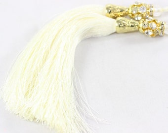 5 Pcs White Silky Thread Tassel 130 mm with Rhinestones and Gold Tone Caps for your lovely designs