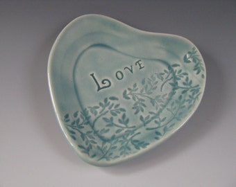 Heart Shaped Trinket Tray Pastel Blue Green Love