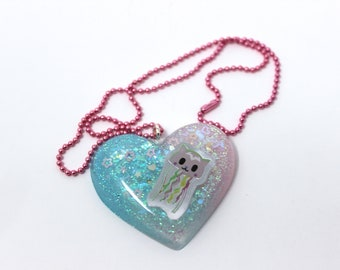 Jellyfish Tokidoki Puffed Heart Pendant Necklace