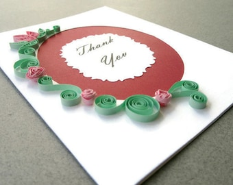 Thank You Card, Paper Quilled Thank You Card, Quilling Thank You Roses, Blank Thank You Card, Pink Rose Card, Red Thank You Greeting Card