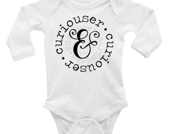 Curiouser and Curiouser Long Sleeve Baby Onesie/Bodysuit | Baby Shower Gifts | Literary Baby Gifts | Book Lover Gifts | Baby Clothing