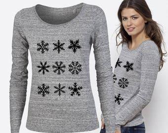 Snowflake Winter Holiday Shirt Ladies Snowflake Top Christmas Snowflake Shirt SNOWFLAKES Holiday Shirt for Women