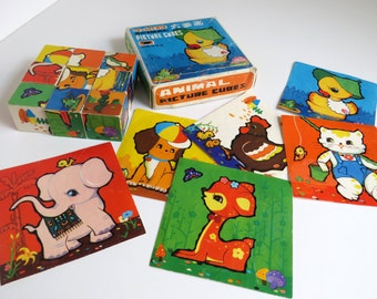 Cute vintage 60s / 70s Animal picture cubes puzzle - 6 different pictures to make - 9 blocks