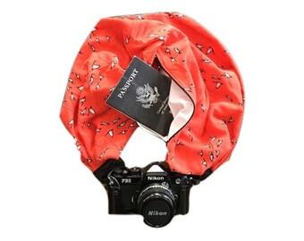 Birds and Orange Print Camera Strap with Lens Pocket -  The Original Camera Scarf Strap With Hidden Pocket