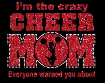 Women's Glitter and Rhinestone Crazy Cheer Mom Shirt