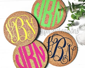 PERSONALIZED COASTERS | Set of 4 Monogram coasters | Coasters Cork | Custom Coasters | Wedding Coasters | Bridesmaid Gifts Mother's Day Gift
