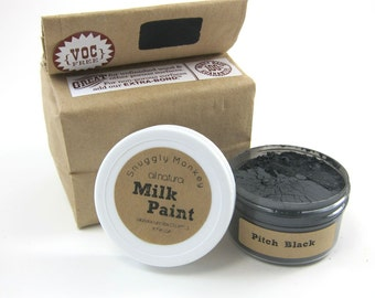 Black Milk Paint - Non-toxic All Natural Paint Perfect for Unfinished Wood Projects- Pitch Black