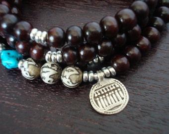Turquoise & Red Sandalwood Goddess Mala // Necklace and Wrap Bracelet // Yoga, Jewelry, Buddhist, Meditation, Prayer Beads, Jewelry