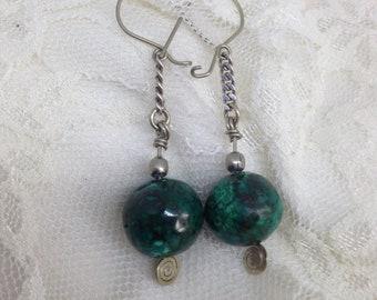 Eilat stone Bedouin vintage silver earrings