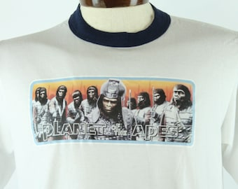 90s Planet of the Apes T-Shirt Screen Tee White Ringer Vintage 1990s Mens Size Large L