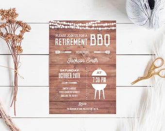 Retirement BBQ Invitation, rustic backyard barbecue retired party invite printable, INSTANT DOWNLOAD editable pdf digital, retirement party