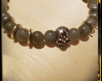 Labradorite and Skull bracelet