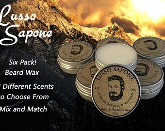 6 Pack Hand Crafted Lusso Sapone Beard & Mustache Wax (You Choose the Scent)