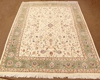 "Mid Century Modern Large 9"" x 12"" Mint Green Wool Area Rug Carpet"