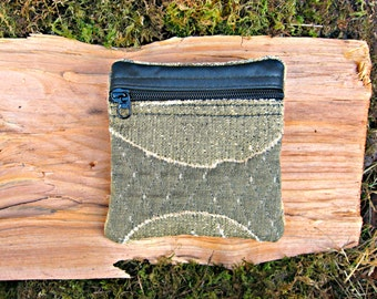 RESERVED for Janet - SALE:  Change Purse - Textured Gold Tapestry and Leather - Handmade in Oregon