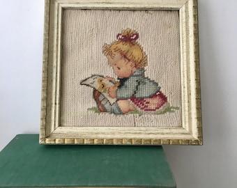 vintage needlepoint blonde toddler girl nursery decor petit point framed