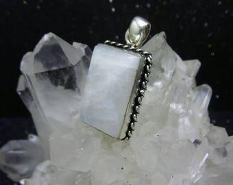Rainbow Moonstone Sterling Silver Pendant.