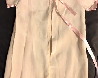 Vintage Childs or Toddlers Robe. 1940's. Pink Silk with Pink SatinTie.