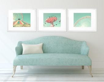 Fille chambre d'enfant wall art nursery décor fille, ensemble imprimé, pépinière estampes, décor de crèche menthe, décor nursery de corail, turquoise