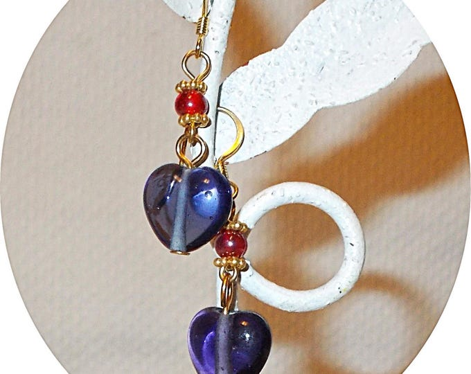 Boho Hippie Chic  Blue Iolite Quartz Heart Red Glass Bead Handmade Drop Dangle Stainless Steel Earrings