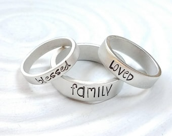 Personalized Pewter Rings - 3 Widths - Name Rings - Personalized Ring - Mother's Ring - Gift for Her