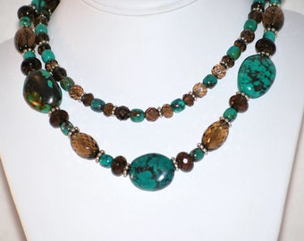 Handmade Turquoise and Smoky Quartz Double-Strand Necklace by MixedMediaDesigns1