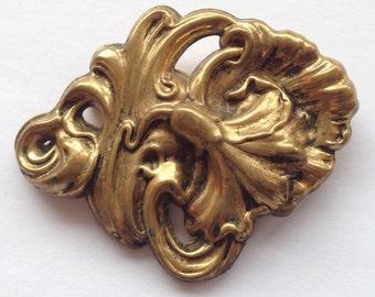 Vintage Art Nouveau Brooch Large Dimensional Flower Antique Gold Tone Pat. No.