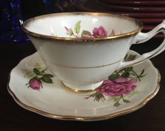 Este 1796 Collingwood Pink Roses Teacup paired with Royal Vale Bone China Saucer