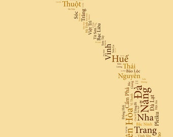 """SALE: Vietnam Typography Map Art Print - 13 x 19"""" // additional sizes available"""