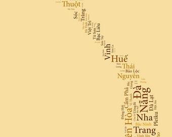 """Verkauf: Vietnam Typografie Karte Kunstdruck - 13 x 19""""/ / weitere Größen erhältlich"""