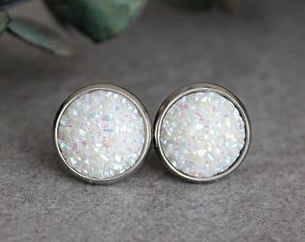 White Druzy Earrings, White Earrings, White Stud Earrings, Iridescent Earrings, Large Stud Earrings, Faux Druzy Earrings, White Druzy Studs