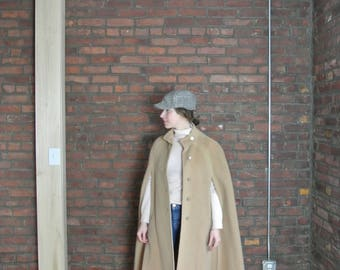 60's Vintage || Camel Mohair Sweeping Cape with Buttons || 0459